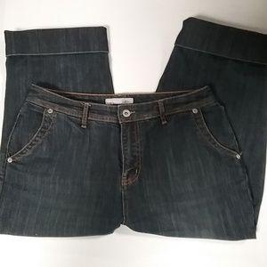 Chico's Dark Wash Jean Capri 1.5 small stretch